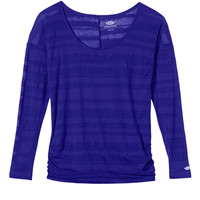 long sleeve striped burnout tee