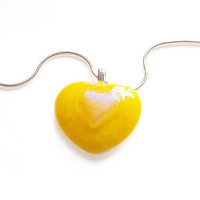 Yellow Heart-Shaped Necklace - with Dichroic Fused Glass