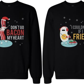 Couple Sweatshirts - Bacon and Egg - Funny Graphic Sweaters for Winter