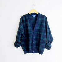 vintage blue and green Pendleton blazer. Plaid wool cardigan jacket coat. preppy button up top.