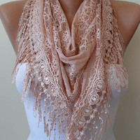 Salmon Laced Scarf with Salmon Trim Edge - Triangular - Special Lace Fabric