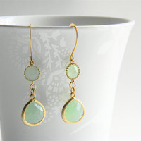 Gold Dangle Earrings - Light Jade Faceted Glass Drop Dangle Earrings