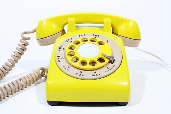 Refurbished Retro Yellow Bell Rotary Telephone