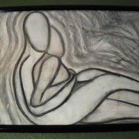 Original Charcoal Drawing, Embrace, 18 x 24&quot;, Black Frame