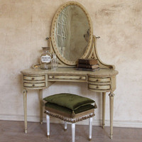 One of a Kind Vintage Vanity & Mirror French Cream
