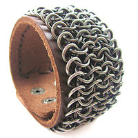 Jewelry bangle leather bracelet buckle bracelet men bracelet made of metal chains and brown leather bracelet cuff  SH-2031