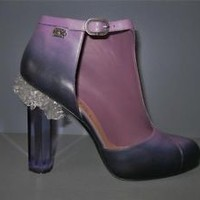 AUTHENTIC NEW 12A CHANEL 39.5 VIOLET PURPLE CRYSTAL RUNWAY BOOTIES HEELS SHOES
