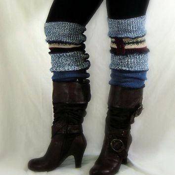 Blue Leg Warmers, Eco Upcycled Womens Leg Warmers, Boot Toppers, OOAK  Leg Warmers, 100% Handmade Altered Clothing by Pandora's Passions