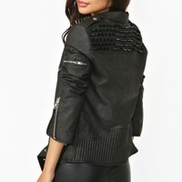 Spiked Moto Jacket - Black