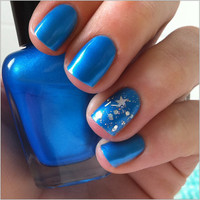 Electric neon blue nail polish