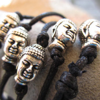 Buddha head charm and  cord bracelet sterling silver plated bead adjustable