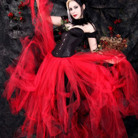 Gothic Bridal skirt, floor length tulle tutu skirt in Blood red any size MTCoffinz