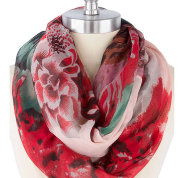 Red Infinity Scarf  Best Selling Items Floral Scarf Christmas Gift Ideas  Stocking Stuffer  - By PIYOYO