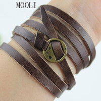 Adjustable Brown Leather Bracelet  Women Leather Jewelry Bangle Cuff With Bronze Alloy Buckle B627