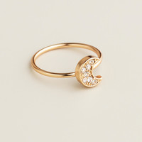Gold Pave Moon Midi Ring - World Market