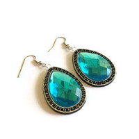 big aqua earrings rhinestone big aqua fashion earrings party wedding bridesmaid prom or everyday unique earrings