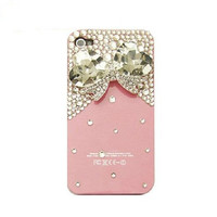 Handmade hard case for iPhone 4 &amp; 4S: Bling crystal bow (custom are welcome)