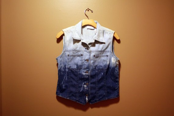 "Ombre bleached denim jean Vest ""Painter edition"" ONE OF A KIND"