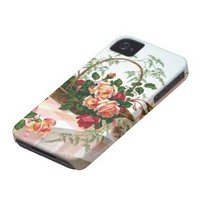 Basket of Roses vintage still life Iphone 4 Case-mate Case from Zazzle.com