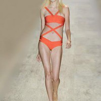 Bqueen Orange One-piece Bandage Swimwear H121C