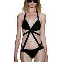 Bqueen Black One-piece Bandage Swimwear H147H