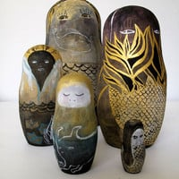 Shallows &amp; Deep Sea Five Piece Nesting Doll Set / Original Artwork
