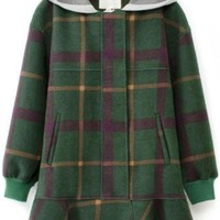 Vintage Plaid Green Hooded Coat - OASAP.com