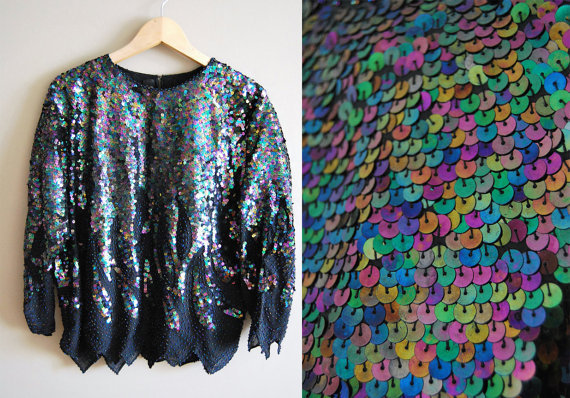 The Black Rainbow - Vintage 80s Metallic Sequin Beaded Top Cutout Hem