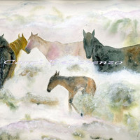 Horse Art, Horse Painting, Horse Watercolor, Horse Art Print, Wild Horses, Print of Original Watercolor Titled Snow Mustangs