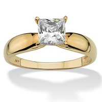1.20 TCW Princess-Cut Cubic Zirconia 10k Yellow Gold Bridal Engagement Solitaire Ring
