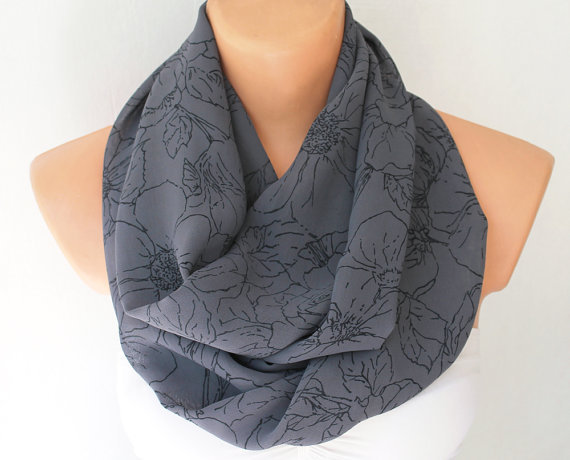 Infinity Scarf Loop Scarf Circle Scarf Cowl Scarf Summer Scarf Charcoal Chiffon with Black Rose Pattern
