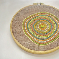 Hand embroidery, wall art, green and orange circles, OOAK, home decor, embroidery hoop