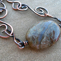 Copper Bracelet Wire Wrapped Moss Green Agate Hammered Oxidized Copper Jewelry Autumn Colors
