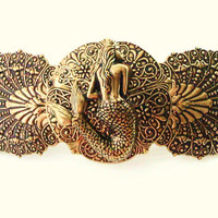 Mermaid on Antiqued Gold plated Brass Shell Handmade   Barrette Made in France Clip Ready to ship