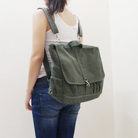 Back To School Sale - MAXX Canvas Back Pack in Army Green - Backpack / Cross body Messenger / Shoulder bag