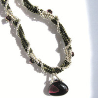 Sterling Silver, Purple and Olive Green Beadwork Necklace