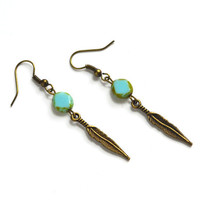 Feather Tribal Earrings. Picasso Blue Bead . Dainty Feather Earrings. Hanging Long Earrings. Nature Inspired Jewelry