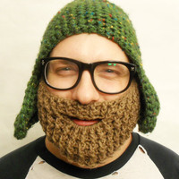 Brown Crochet Beard with strap, Dirty Blonde, Made To Order