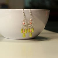 Pink and Yellow-Green Earrings, Silver Chandelier earrings