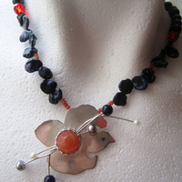 OOAK Sterling Silver Bird with Orange Gem Stone Necklace