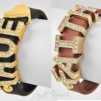 Pynk Krush  Leather Word Bracelet