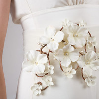 Whimsical Tulle Bridal Sash - Ivory Flowers, Pearl Berries & Trailing Vines