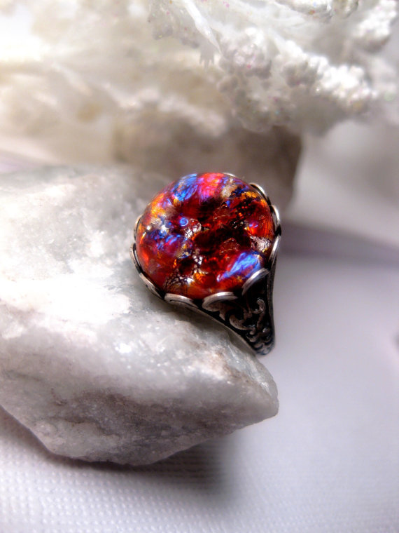 Blush And Lava Opal Ring