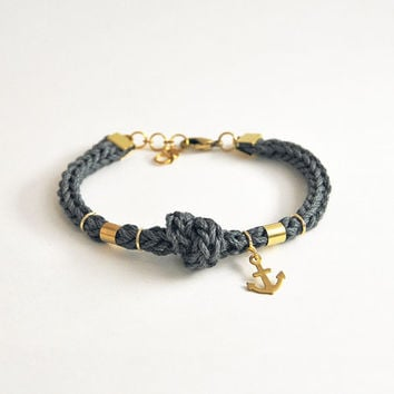 Anchor bracelet with knot, knit rope bracelet with anchor charm, charcoal gray  bracelet from cotton, nautical bracelet