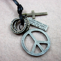 soft leather necklace, peace sign pendant men leather long necklace, women leather necklace  PL0325