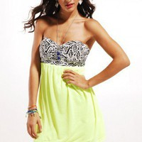 Reverse Tribal Neon Mini Dress in Neon Yellow