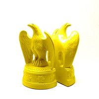 mid century bookends, eagles, mustard yellow,  upcycled vintage, eagle, home office, classic american,  60s, mod decor, bookend, book ends