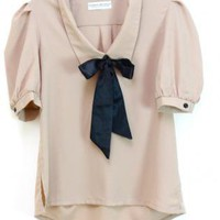 Retro Sailor Collar Black Satin Bow Blouse