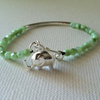 Sterling Silver Elephant Bracelet, Beaded Bangle Bracelet - Seafoam Green and Silver