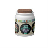Whimsical Owl Circles Candy Jars from Zazzle.com